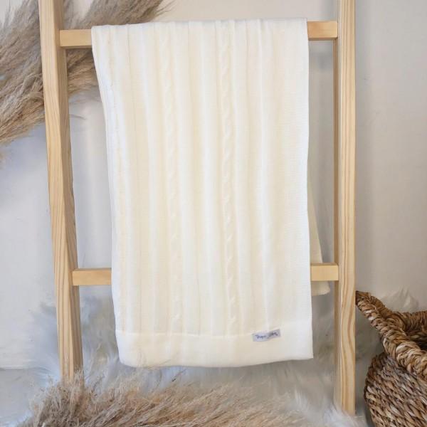 Manta de linha- trança off white