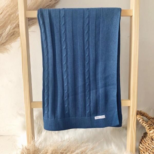 Manta de linha- trança azul jeans