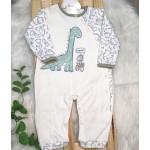 Macacão Trape Zape- Dino Mamãe off e azul jeans