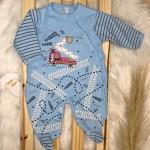 Macacão Trape Zape- estradinha guincho azul bebe