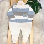 Macacão de linha- Gael ursinho de madeira bolso (azul bebe, branco e cinza)