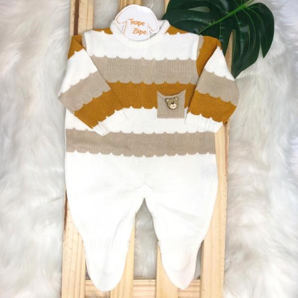Macacão de linha- Gael ursinho de madeira bolso (off white, mostarda e bege)