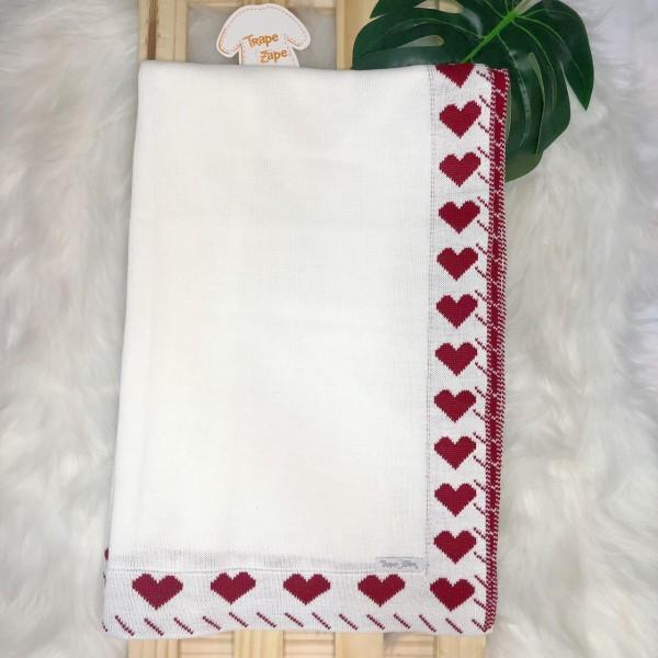 Manta de linha- contorno coração branco com vermelho