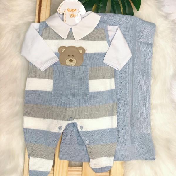 Saída de Maternidade- ursinho bolso azul, cinza e branco
