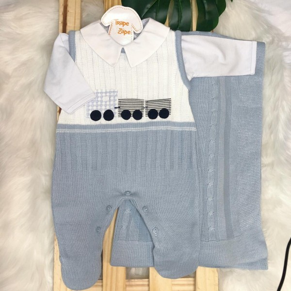 Saída de Maternidade- azul claro trenzinho manta trança