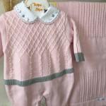 Saída de maternidade Pietra- Rosa e cinza