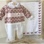 Saída de maternidade Manuela- Branco com rosê