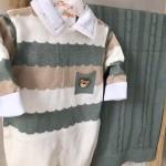 Saída de Maternidade Gael  - Verde, branco e bege