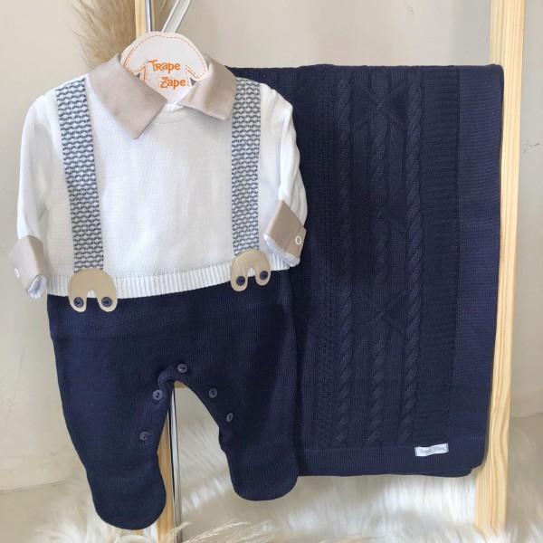 Saída de Maternidade- Suspensório Azul Marinho