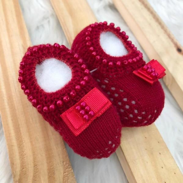 Sapatinho vermelho laço gorgurão sapatilha