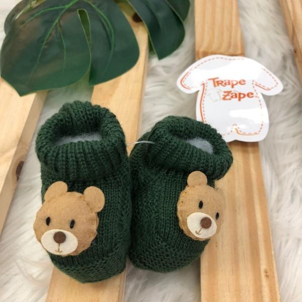Sapatinho recém nascido de linha- ursinho verde militar