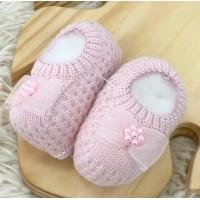 Sapatinho recém nascido de linha- Sapatilha rosa claro laço cetim