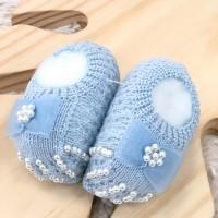 Sapatinho recém nascido de linha- Sapatilha azul bebê laço cetim com perolas