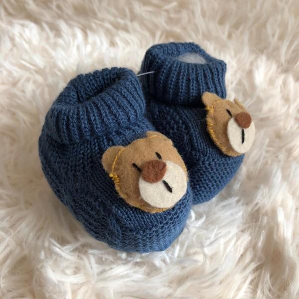 Sapatinho recém nascido de linha- ursinho azul jeans