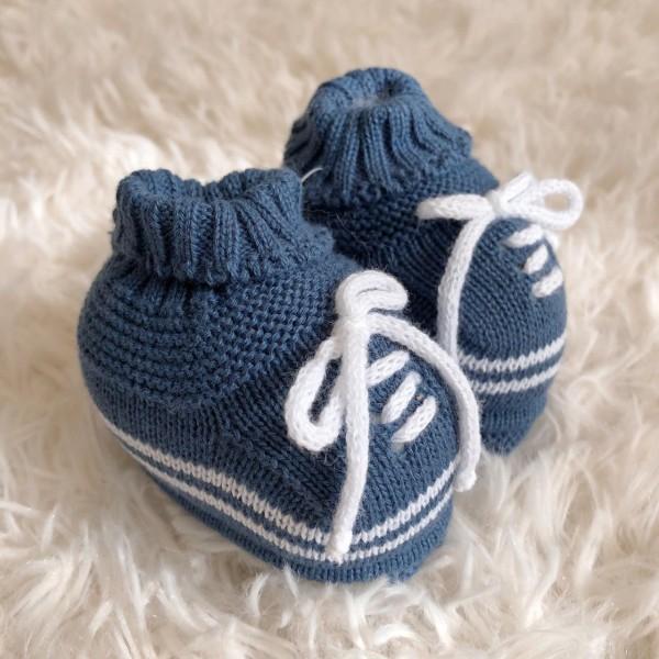 Sapatinho recém nascido de linha- cadarço azul jeans