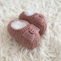 Sapatinho recém nascido de linha- sapatilha laço cetim rosê