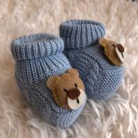 Sapatinho recém nascido de linha- ursinho azul bebê