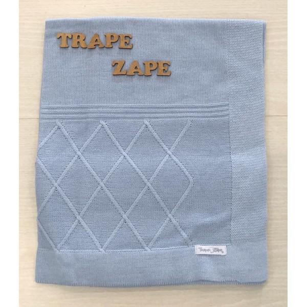 Manta de linha- losangulo azul bebê