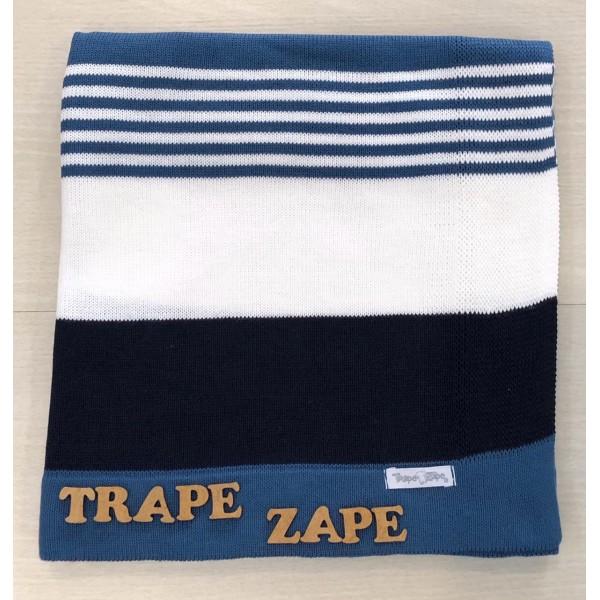 Manta de linha- 3 cores azul jeans, branco e azul marinho