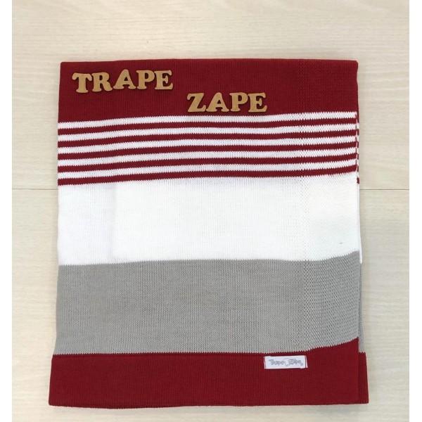 Manta de linha- 3 cores vermelha, branco e cinza