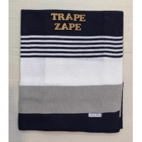 Manta de linha- 3 cores azul marinho, branco e cinza