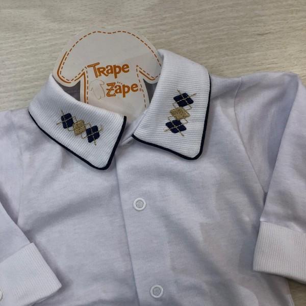 body camisa gola bordada- losangulo marinho e bege