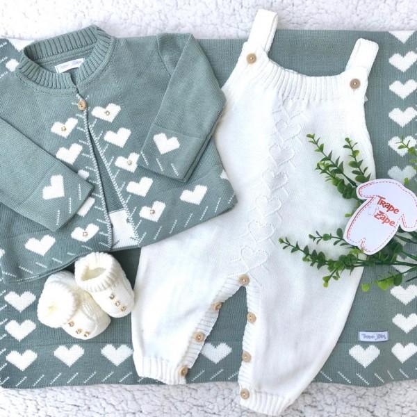 Saída de Maternidade Love- verde com branco