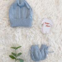 kit touca e luva- azul bebê