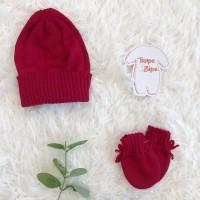 kit touca e luva- vermelho