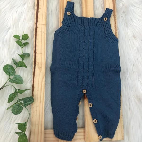 Jardineira Longa de  Linha - Tranca Lisa Azul Jeans
