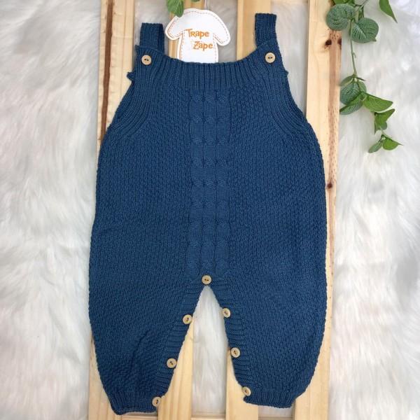 Jardineira Longa de  Linha - Azul jeans Pipoca