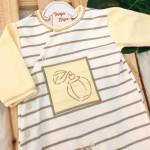 Macacão Trape Zape- Frasquinho de Perfume - Amarelo com Areia e Off