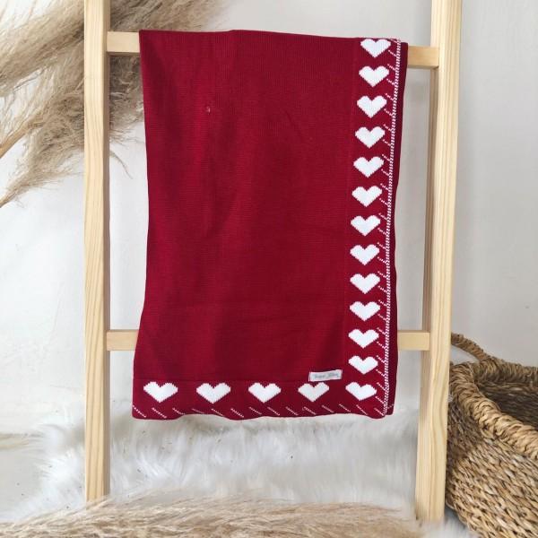 Manta de linha- contorno coração vermelho com branco