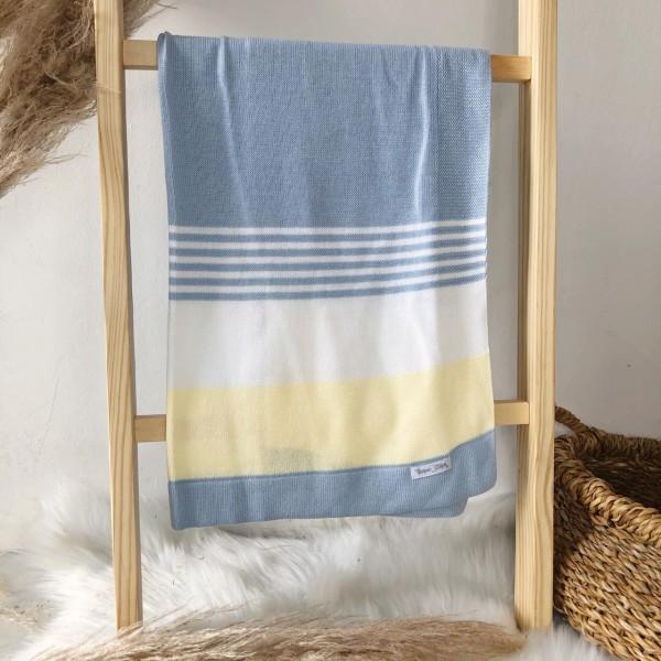 Manta de linha- 3 cores azul bebê, branco e amarelo