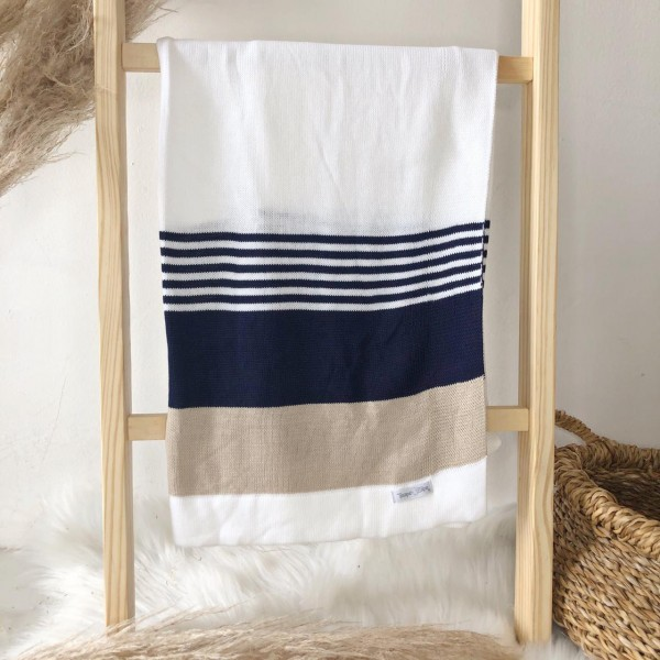Manta de Linha - Listrada Branco, bege e marinho