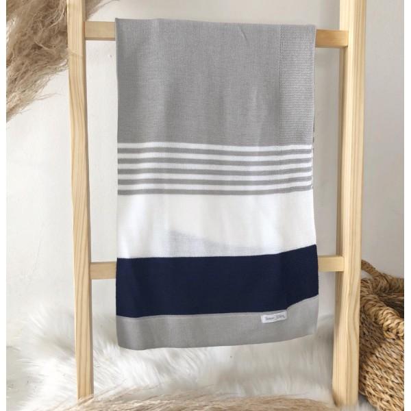 Manta de linha- 3 cores cinza, branco e azul marinho