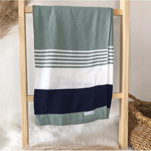 Manta de linha- 3 cores verde, branco e azul marinho