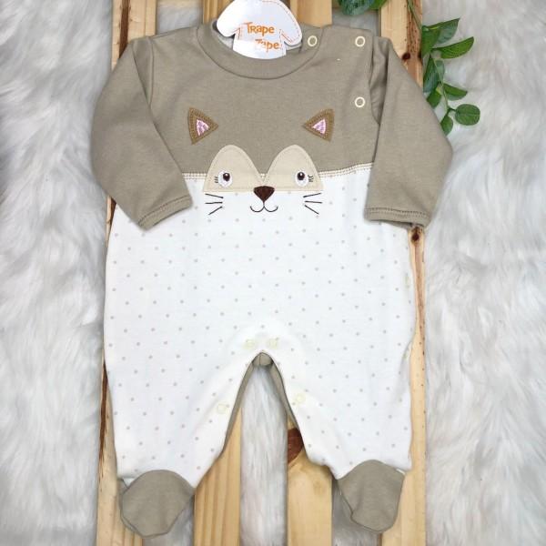 Macacão Trape Zape- rostinho raposa bege