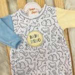 Macacao Trape Zape Colecao Nova - Baby Dino Amarelo e Azul Claro
