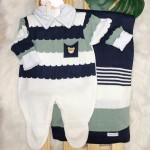 Saída de Maternidade Gael  - Marinho, verde e branco