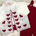 Saída de Maternidade Love- Branco com Vermelho SAPATO BRANCO