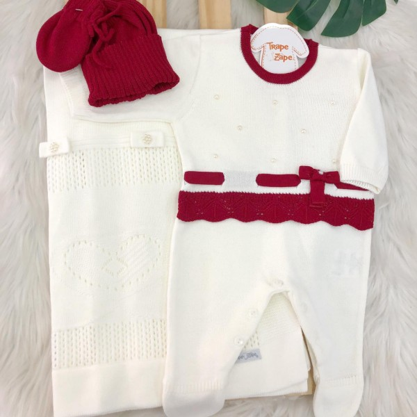 Saida de Maternidade - Luana - Vermelha e OFF + Kit luva e touca