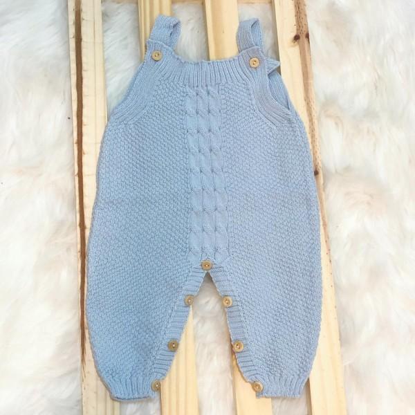 Jardineira Longa de linha- pipoca azul bebê