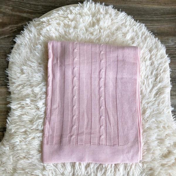 Manta de linha- trança rosa