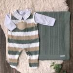 Saída de maternidade ursinho listrado bege verde e branco