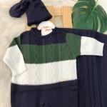Saída de Maternidade Nicolas - Marinho, Verde Militar e Branco