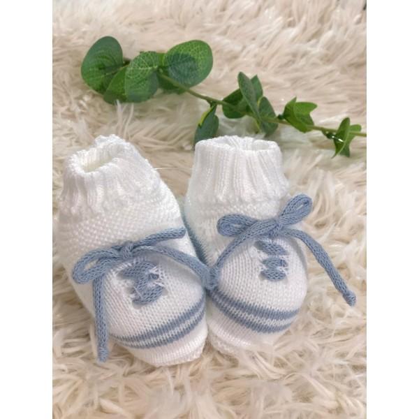 Sapatinho recém nascido de linha- cadarço azul bebê